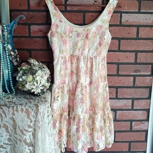 Vintage 1990s Floral Lace Midi Dress Sz S